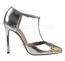 GUCCI SHOES STUDDED SILVER LEATHER GOLD METAL STUDS T-STRAP PUMPS IT 38 US 8