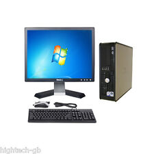 "Windows 7 Full Dell Optiplex Computer Set 4 GB Ram 80 GB HDD 17"" LCD WIFI DVD"