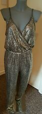 BNWT TOP SHOP cracked gold jumpsuit size 10 RRP £39 inside leg 27.5""
