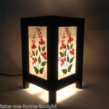 Rose Leaf Bedside Table Lamp Asian Oriental Floral Decorative Paper Lantern