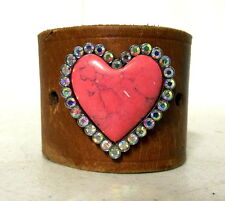 Pink and Rhinestone Heart Tan Leather Upcycled Cuff - Hippie Gypsy Boho Bracelet