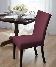 "BURGUNDY  ""STRETCH""  DINING CHAIR COVER ""ON SALE"" SUBWAY TILE--AVAIL IN 4 COLORS"