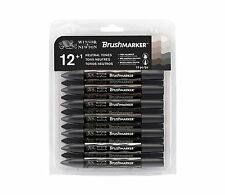 Winsor & newton brushmarker marker pen set of 12 neutre/gris tons + blender