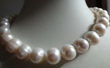 "HUGE 14K 20"" 10-11MM SOUTH SEA GENUINE WHITE BAROQUE PEARL NECKLACE"