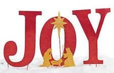 "Christmas Holiday ""Joy"" Yard Sign w/ Attachable Nativity Metal"