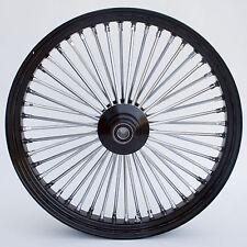"""Black & Chrome 48 King Spoke 21"""" x 3.5"""" Front Wheel for Harley and Custom Models"""