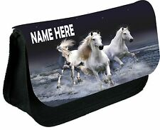 White Horses in Water personalised pencil cases