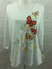 Womens Large Breckenridge Butterfly Embroidered White Shirt Top Stretch  NWT