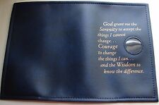 "Alcoholics Anonymous AA Big Book Serenity Prayer Medallion Holder Blue ""COVER"""