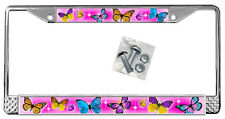 Butterflies Hot Pink Backdrop License Plate Frame Gifts Polished Metal TXT