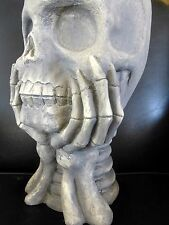HALLOWEEN SKULL CANDY CONTAINER Holder Candy Dish Plaster Inddors/outdoors