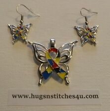 Autism Puzzle Ribbon Butterfly Necklace and Earring Set