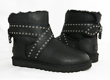 UGG Cameron Studded Bailey Bow Black Leather Fur Boots Womens 7 *NEW IN BOX*
