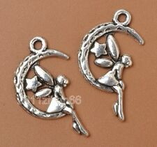 50Pcs Tibetan Silver Charm moon star angel girl necklace BEAD pendant 25mm B3376
