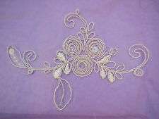 Ivory Beige sequines floral lace Applique Bridal wedding floral lace motif 16cm
