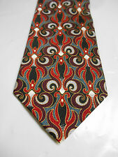 Facets Classics Red Gray Black and White Geometric Print Silk Necktie