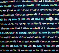 Lines of transport vehicles Navy multi Fabric fq 50 x 56 cm 100% Cotton JL 86346