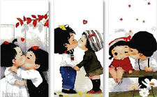 "New Stamped Cross Stitch Kit ""Kiss Kiss Kiss"" 13""x7.5""x3 printed design"