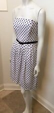 WHITE HOUSE BLACK MARKET SIZE 4 WOMEN STRAPLESS POLKA DOT FIT AND FLARE DRESS