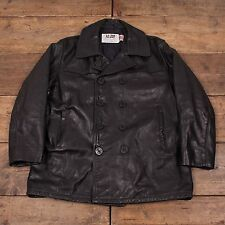 "Mens Vintage Schott NYC Quilt Lined Leather Pea Jacket Coat Black L 44"" R4690"
