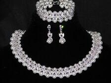 3PC Set Hugs and Kisses Necklace,Earrings Bracelet Silver W.Rhinestone & Pearl