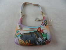 "Womens Genuine Leather Hand Painted ""Rain Forest"" Shoulder Bag Handbag Hobo NWT"