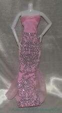 Barbie Fashionistas Candy Pink Glitter Slinky Strapless Long Mermaid Gown Dress
