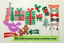 Christmas Photo Booth Props, 22pcs, Attached NO DIY NEEDED, Ships Fast US