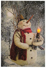 New Country Christmas WOODLAND SNOWMAN Lighted Candle Picture Canvas Wall Sign