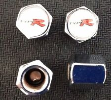 HONDA CIVIC TYPE R VALVE CAPS TYRE WHEEL DUST CAPS X4 White