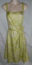 Ann Taylor Green Floral print 100% Silk belted sheath dress career 6 Worn Once