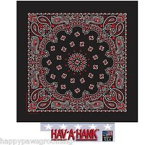 "HAV-A-HANK Red/White/Black Bandana Western PAISLEY BANDANNA 22"" HANKY*USA MADE"