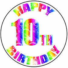 """Feliz 10th Cumpleaños Colorido Redondo 8"""" Glaseado Cake Topper-fácil pelar precortadas"""