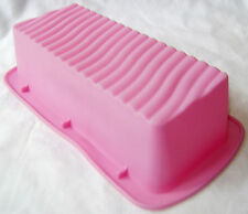 NEW RIDGED RIPPLE SILICONE LOAF CAKE BAKING TIN MOULD NON STICK PINK DGI FUSION
