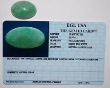 GREEN&WHITE NATURAL JADEITE JADE OVAL CABOCHON 22.57 CT CERTIFIED BY EGL USA