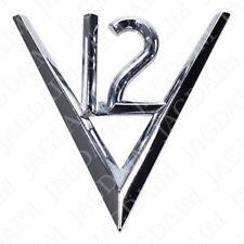 """JAGUAR E-TYPE """"V12"""" CHROME SCRIPT BADGE FITS SERIES 3 V12 E-TYPE BD37600"""