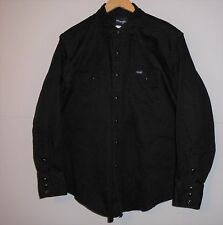 C70 Mens WRANGLER Long Sleeve Pearl Snap Shirt XL X LARGE Black Western Cowboy