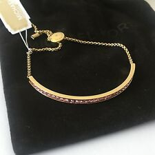 Michael Kors Brilliance Gold Tone Drawstring Chain Pink Crystal Bracelet MKJ5402