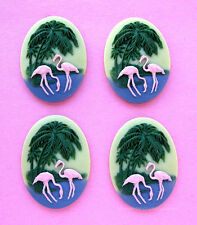 4 Unset 3/D PINK FLAMINGOS & PALM TREES 40mm x 30mm Costume Jewelry Craft CAMEOS