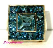 LAURA RAMSEY 14K YELLOW GOLD LONDON BLUE TOPAZ DESIGNER RING