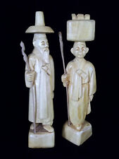 """Man & Woman  Wood Hand Carved Couple  Korean 8 1/2"""" Tall figures"""