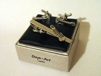 Music Gift Set Electric Guitar Tie Clip & Cufflinks Musician Band Group NEW