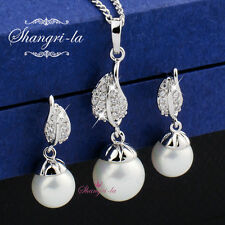 18K White GOLD Filled LEAF PEARL NECKLACE Earrings SWAROVSKI CRYSTAL EX452