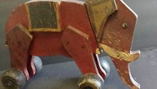 Wood Red Pull Toy Elephant Childs Circus Animal Vintage Antique Jointed