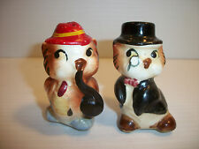 Vintage Anthropomorphic Salt Pepper Owls One with Pipe and One with Monocle