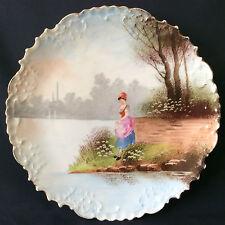 Superbe assiette en porcelaine de LIMOGES art nouveau fin XIXe début XXe .