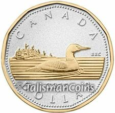 Canada 2015 Big Coins Series #1 Loonie Dollar 5 Ounce Silver Gold Plated Proof