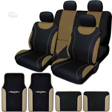 New Flat Cloth Black and Tan Car Seat Covers Floor Mats Full Set For Ford