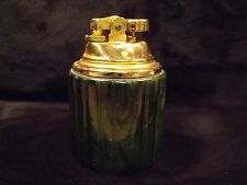 VINTAGE 60'S ROUND REEDED MARBLE BASE BRASS TOP TABLE LIGHTER