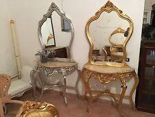 consolle completa di specchio in foglia argento Oppure In Foglia Oro